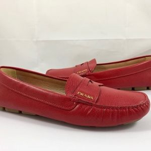 Prada Saffiano Leather Driving Moccasins Loafers